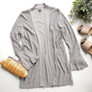 J.Crew • gray open front bell sleeve knit cardigan